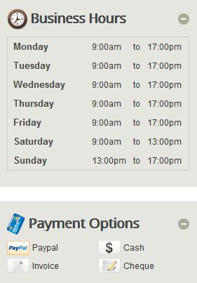 Business Hours & Payment Methods